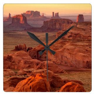 Monument valley scenic, Arizona Square Wall Clock