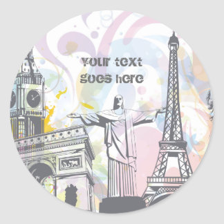 Monuments of the world classic round sticker