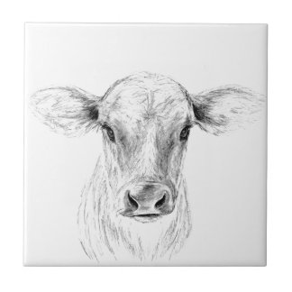 Moo A Young Jersey Cow Tile