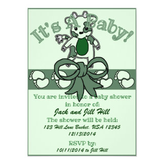 Moo Baby Shower - Green 14 Cm X 19 Cm Invitation Card