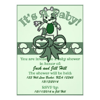 Moo Baby Shower - Green Personalized Announcement