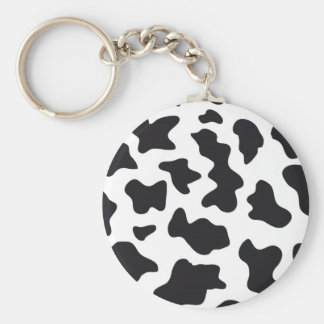 MOO Black and White Dairy Cow Pattern Print Gifts Key Chain