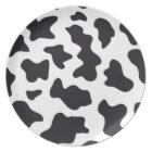MOO Black and White Dairy Cow Pattern Print Gifts Plate