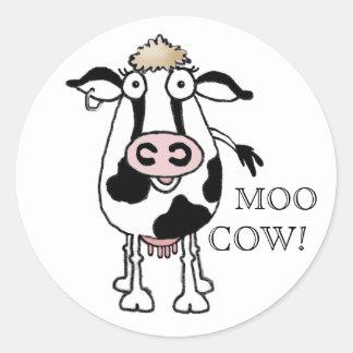 MOO COW! ROUND STICKER