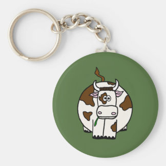 Moo Cow With Green Background Basic Round Button Key Ring