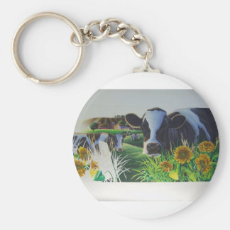 Moo Cow With SunFlowers Basic Round Button Key Ring