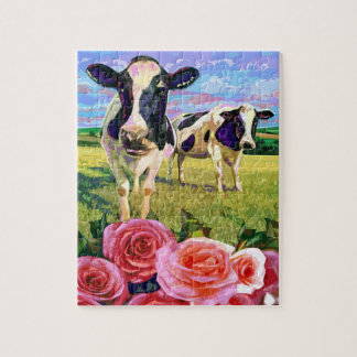 MOO COWS SMELLING OF ROSES JIGSAW PUZZLE
