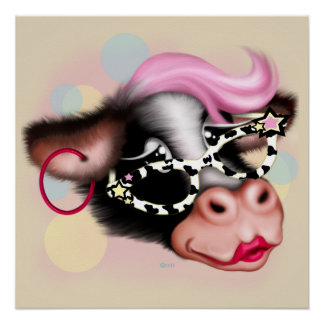 MOO FACE COW CARTOON  PERFECT POSTER