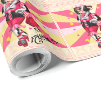 "MOO FASHION COW CARTOON Wrapping Paper 30"" x 45'"