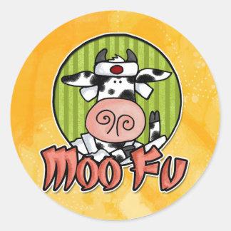 moo fu l classic round sticker