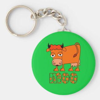 Moo - Ginger Cow Basic Round Button Key Ring