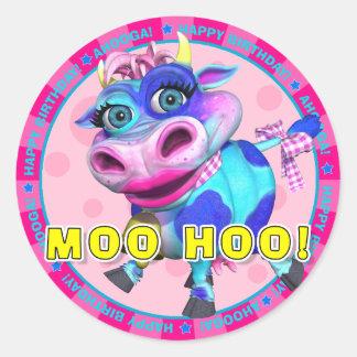 MOO HOO! Birthday Stickers with Kissy Moo