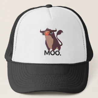 Moo, mean cow design trucker hat