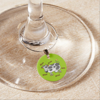 moo moo farm cow wine glass charm
