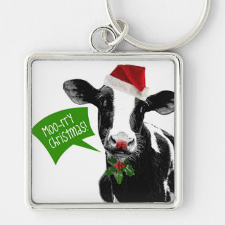 Moo rry Christmas! Funny Holiday Cow in Santa Hat Key Chain