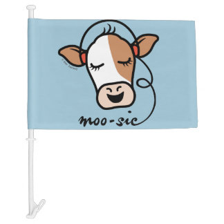 Moo-sic Cow Car Flag