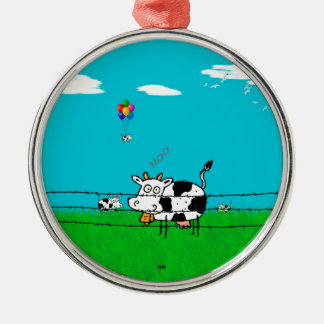 Moo Silver-Colored Round Decoration