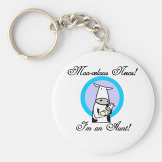 Moo-velous New Aunt Tshirts and Gifts Basic Round Button Key Ring