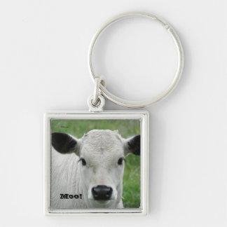 Moo! White Cow Keychain
