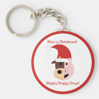 Moo-y Christmas and Happy Hoggy Days! Basic Round Button Key Ring