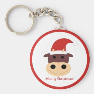 Moo-y Christmas! Holiday gifts and cards Basic Round Button Key Ring