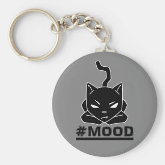 #MOOD Cat Black Logo Illustration Key Ring