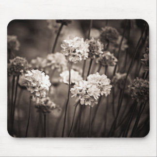 Moody Black and white flowers Mouse mats
