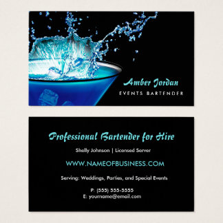 Moody Blue Beverage Splash Edgy Events Bartender Business Card