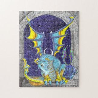 Moody Dragons in Window big eye fantasy art Puzzle