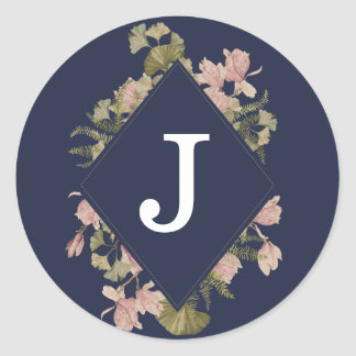 Moody Ginkgo and Japanese Magnolia Floral Monogram Classic Round Sticker