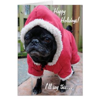 Moody Pug Christmas Greeting Card