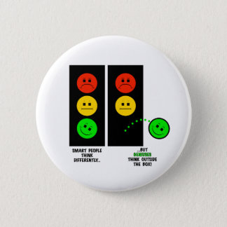 Moody Stoplight Geniuses Think Outside The Box 6 Cm Round Badge