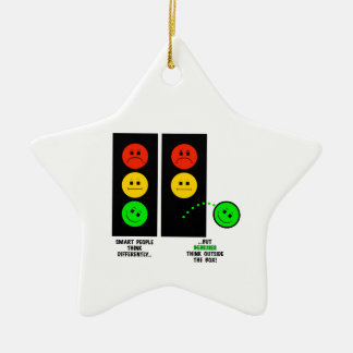 Moody Stoplight Geniuses Think Outside The Box Ceramic Ornament