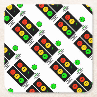 Moody Stoplight Geniuses Think Outside The Box Square Paper Coaster