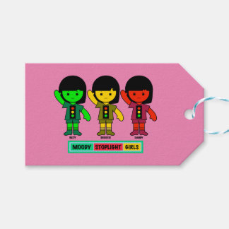 Moody Stoplight Girls in Shorts Gift Tags