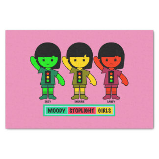Moody Stoplight Girls in Shorts Tissue Paper