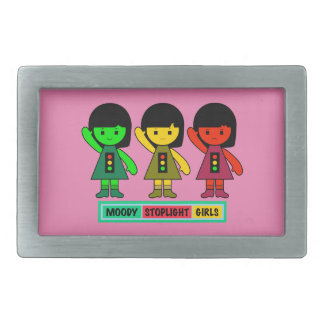 Moody Stoplight Girls w/ Label Rectangular Belt Buckle