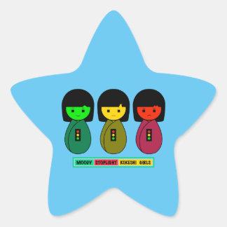 Moody Stoplight Kokeshi Girls w/ Label