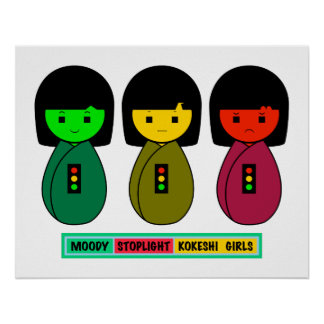 Moody Stoplight Kokeshi Girls w/ Label Poster
