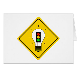 Moody Stoplight Lightbulb Ahead Card