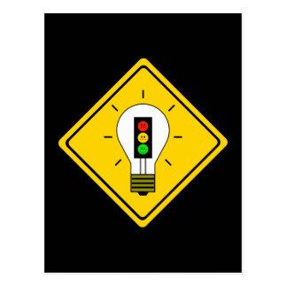 Moody Stoplight Lightbulb Ahead Postcard