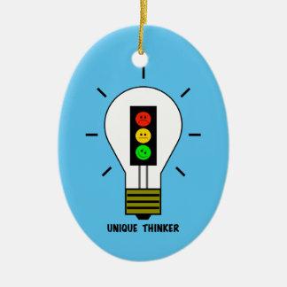 Moody Stoplight Lightbulb Unique Thinker Ceramic Ornament