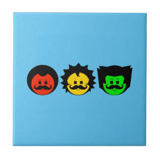 Moody Stoplight Trio Faces with Mustachios 1 Ceramic Tile
