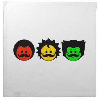 Moody Stoplight Trio Faces with Mustachios 1 Napkin