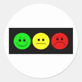 Moody Stoplight Trio Lefty Green Round Sticker