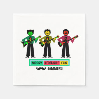 Moody Stoplight Trio Mustachio Guitar Players 1 Disposable Serviettes