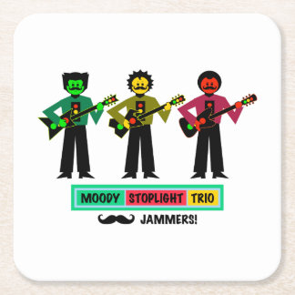 Moody Stoplight Trio Mustachio Guitar Players 1 Square Paper Coaster