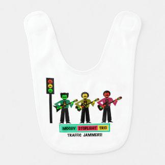 Moody Stoplight Trio Mustachio Guitar Players 2 Bib