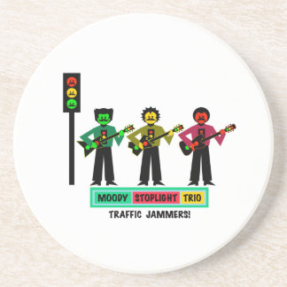 Moody Stoplight Trio Mustachio Guitar Players 2 Coaster