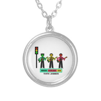 Moody Stoplight Trio Mustachio Guitar Players 2 Silver Plated Necklace